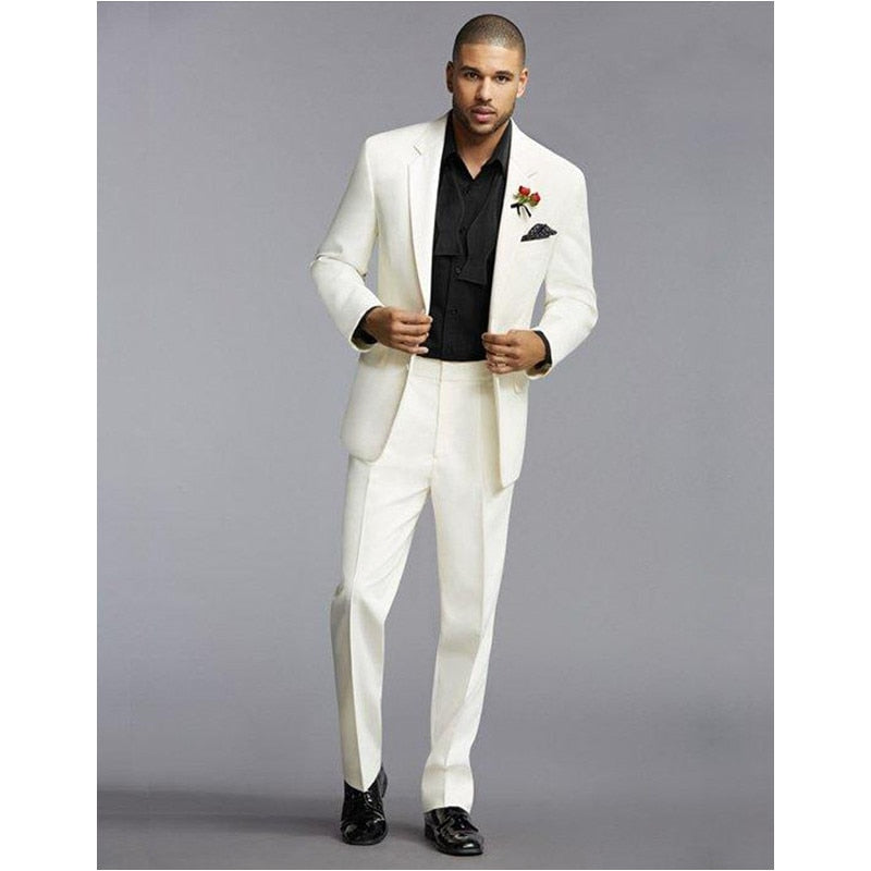 Custom Ivory Slim Fit Wedding Suits