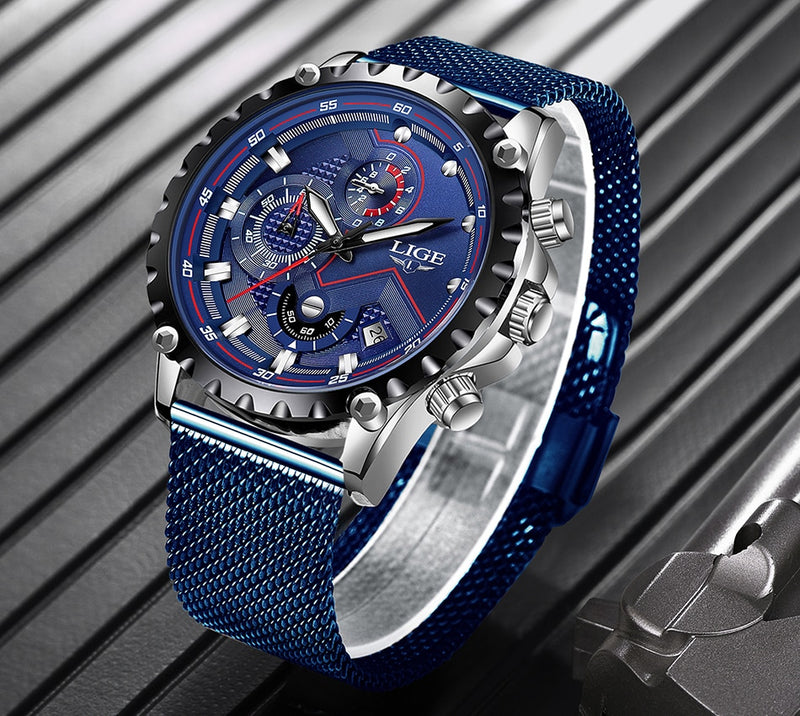 LIGE Blue-Belt Fashion Quartz on Gold Watch