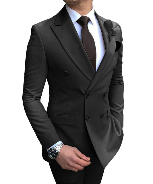 Daschop Double-Breasted Slim Fit Casual Tux