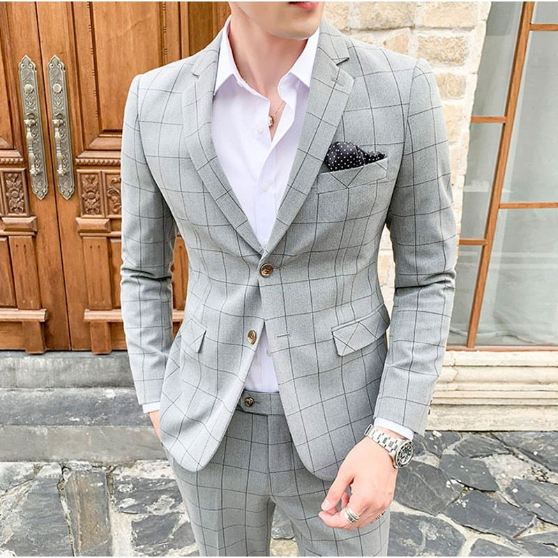 Men's Black Gray Plaid Slim Fit Autumn Suit