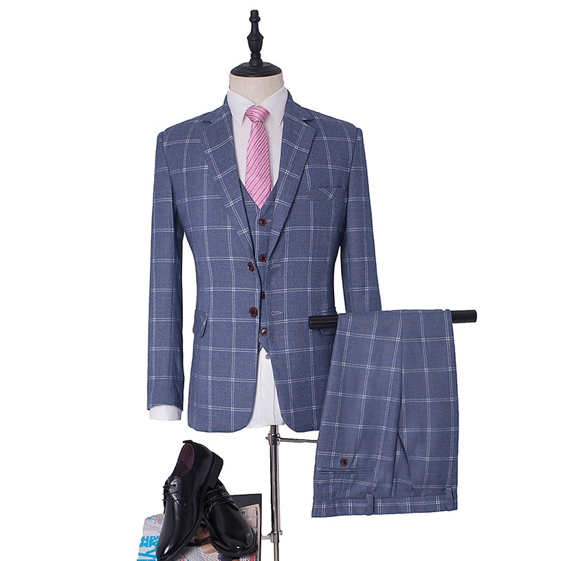 3 Piece Gentleman's Classic Slim Fit Blue Plaid Suit