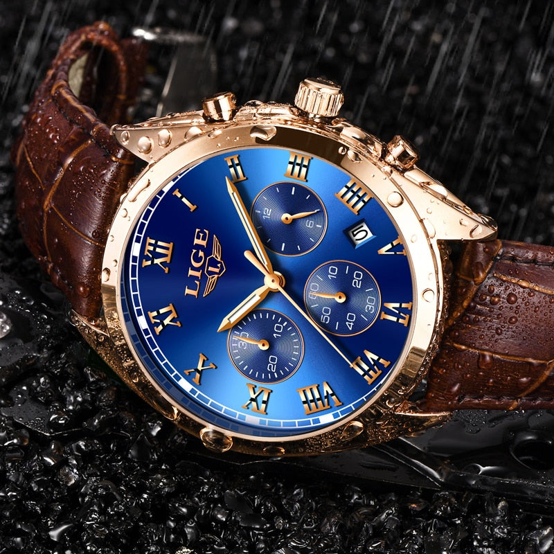 LIGE Luxury Quartz Rose Gold/ Leather Band Watch