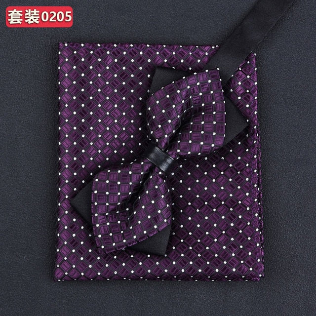 11 Colors Fashions Pocket Squares & Bow Tie Handkerchief Set