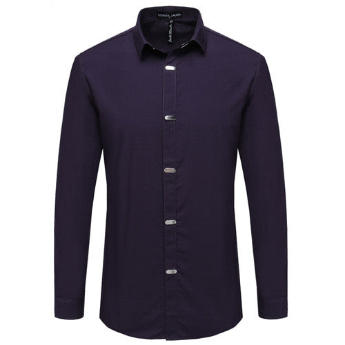 VISADA JAUNA Men's Casual Long Sleeve Solid Male Business Slim Fit Shirt