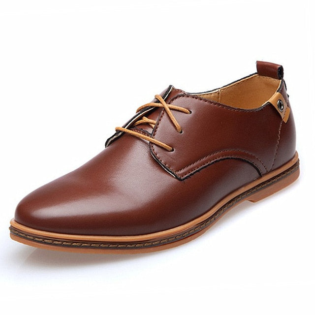 Tangnest Leather Solid Lace-up Oxfords