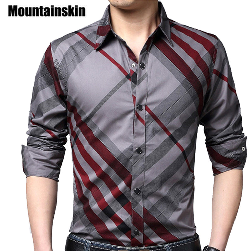 Mountainskin Casual Striped Men Shirts Slim Business Shirt