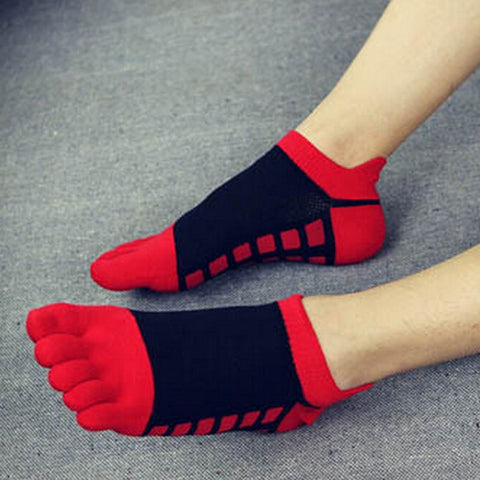 Block Pattern Five Finger Socks