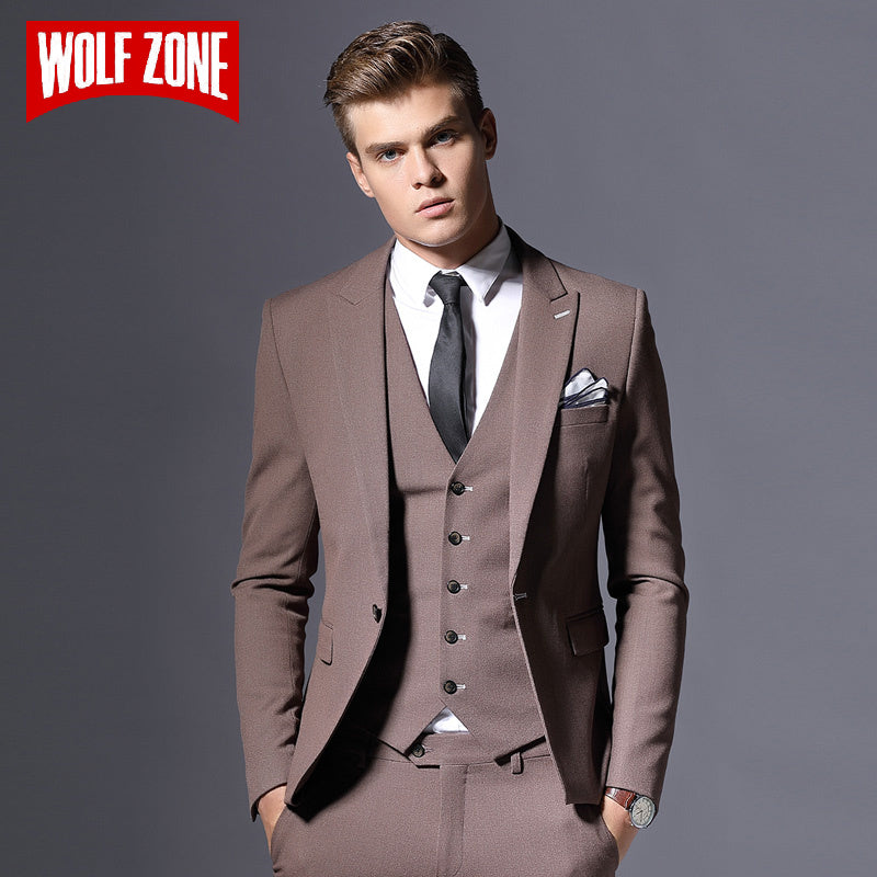 Three Pieces Slim Fit Single Button - Brown