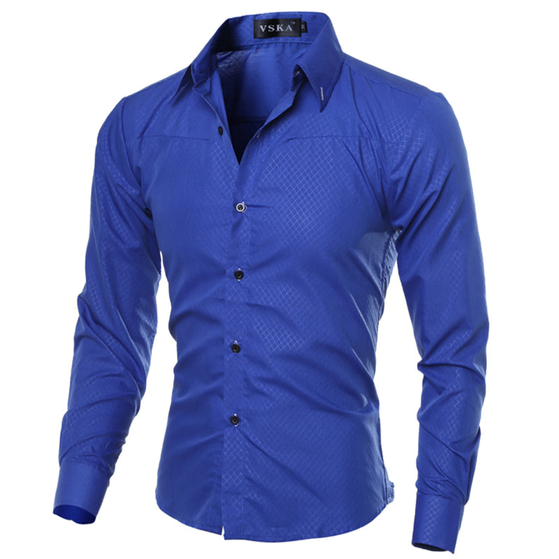 Men's Clothing Solid Soft Men Shirt Long Sleeve Men's Shirts Casual Slim Fit Hot Sale