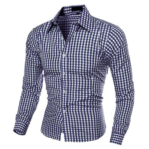 Men's Fashion Plaid Long-Sleeved Slim Fit