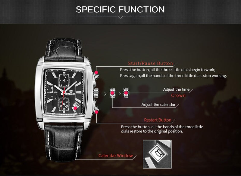 Megir Rectangle Luxury Chronograph Quartz - Watch