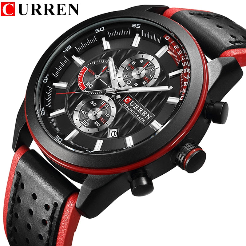 Luxury Sport Chronograph Leather Wristwatch