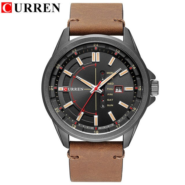 Men's Quartz Blue Date Week Design - Leather