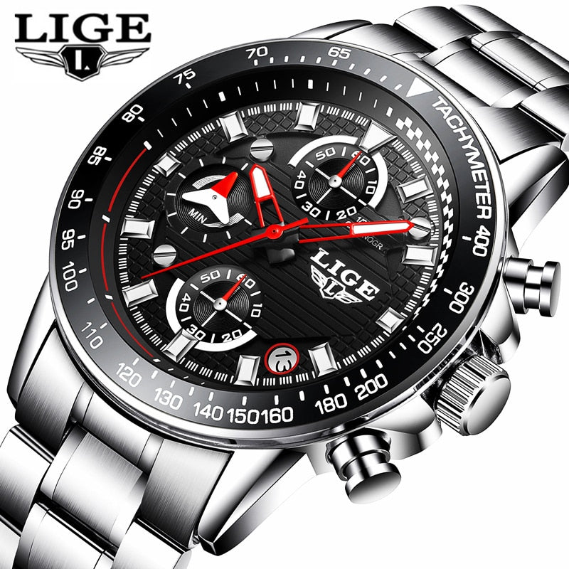 LIGE Brand Luxury Chronograph Leather Quartz Clock #072