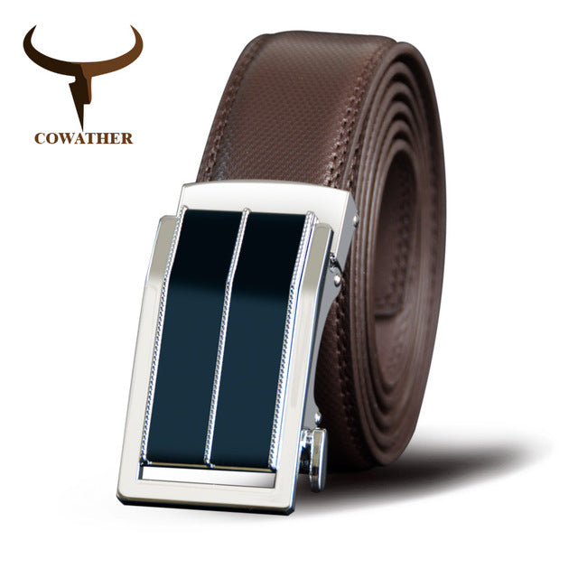 Men's Genuine Leather Belt w/ Alloy Automatic Buckle