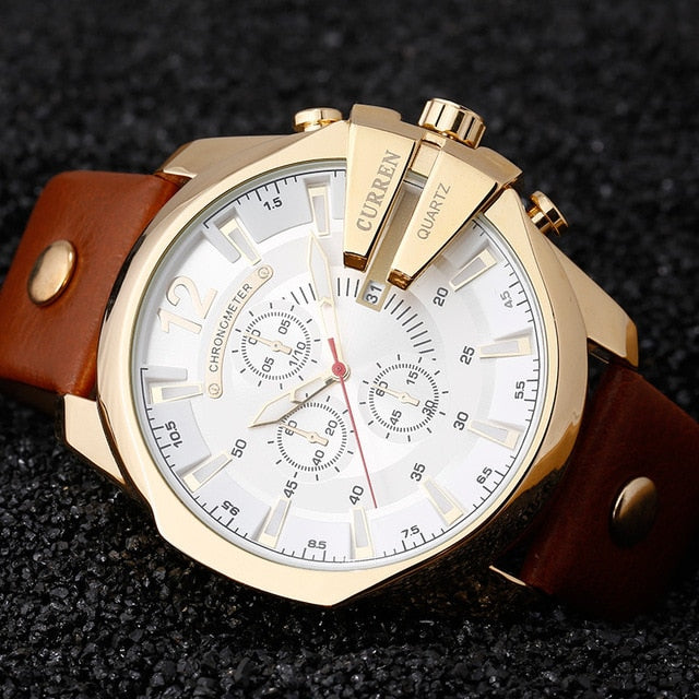 Men's Luxury Designer Gold Clock male Fashion Date