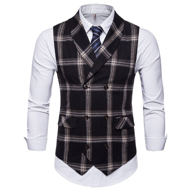Slim Fit Double Breasted Waistcoat (Plaid)