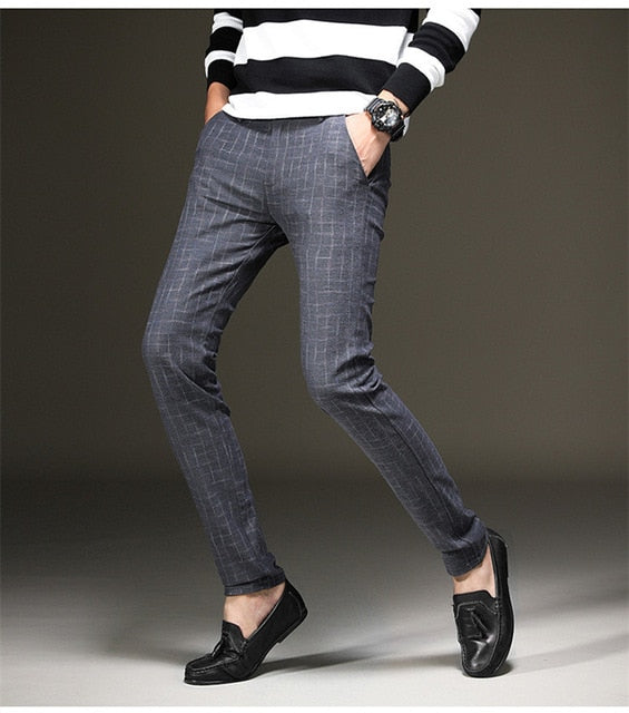 Casual Plaid Slim Fit Trousers
