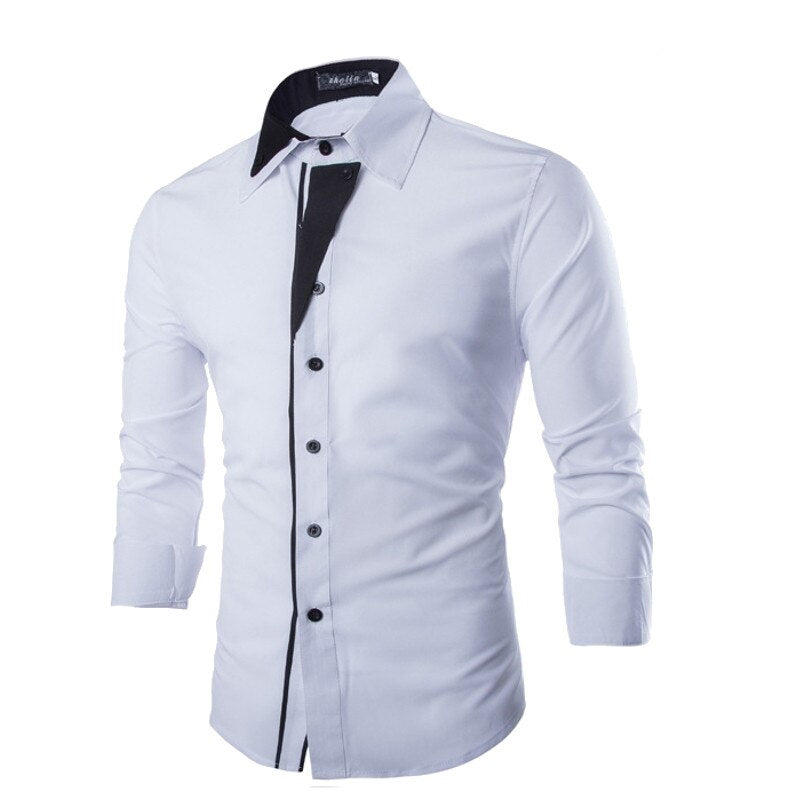 Long Sleeve Slim Fit Cotton Shirt  Turn-Down Collar
