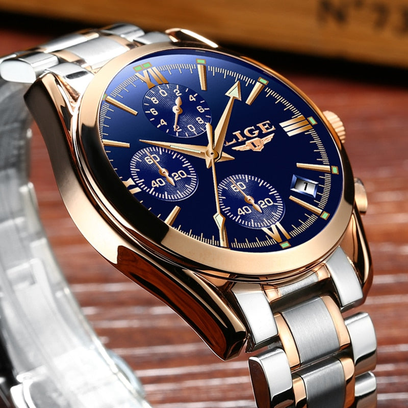 LIGE  Brand Luxury Fashion Quartz Watch