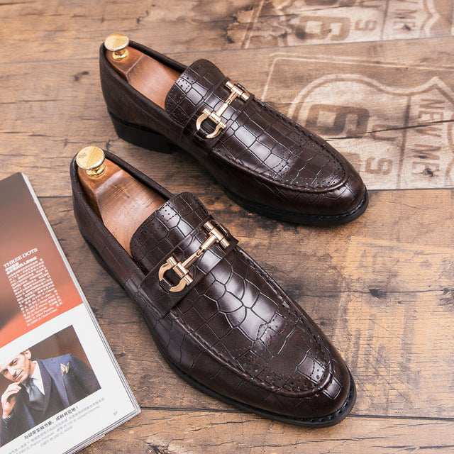 Pointed Toe Mens Dress Shoes Genuine Leather Flats