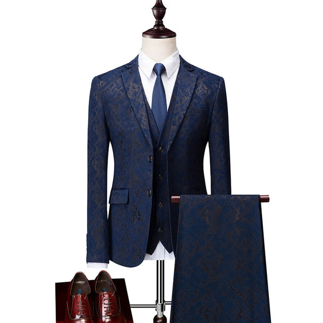 Navy Blue Tuxedo Fashion Printed 3Pc  Slim Fit Suit