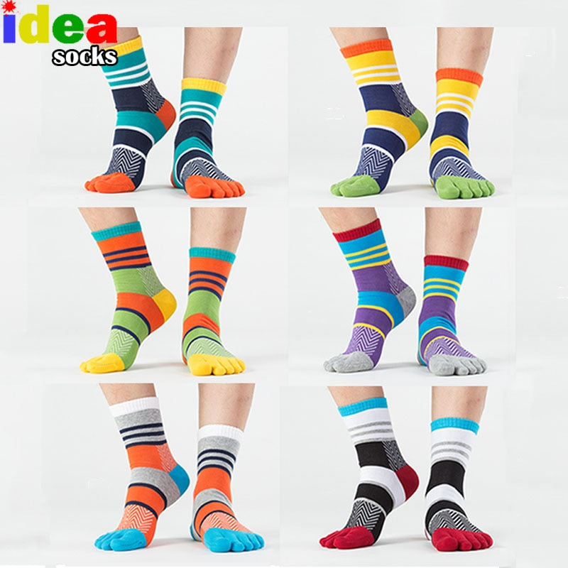 Stripe Patchwork Five Finger Socks
