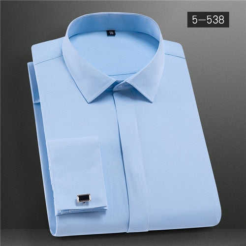 Quality  French Cuff-links Collar Slim Fit Shirt