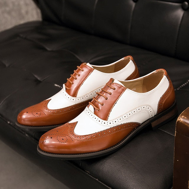 Mixed Color Vintage Brogue Shoes