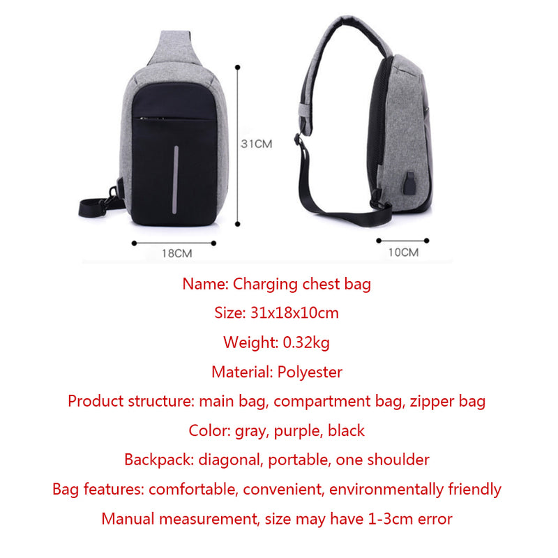 USB Charging Cross-Body Messenger Bag