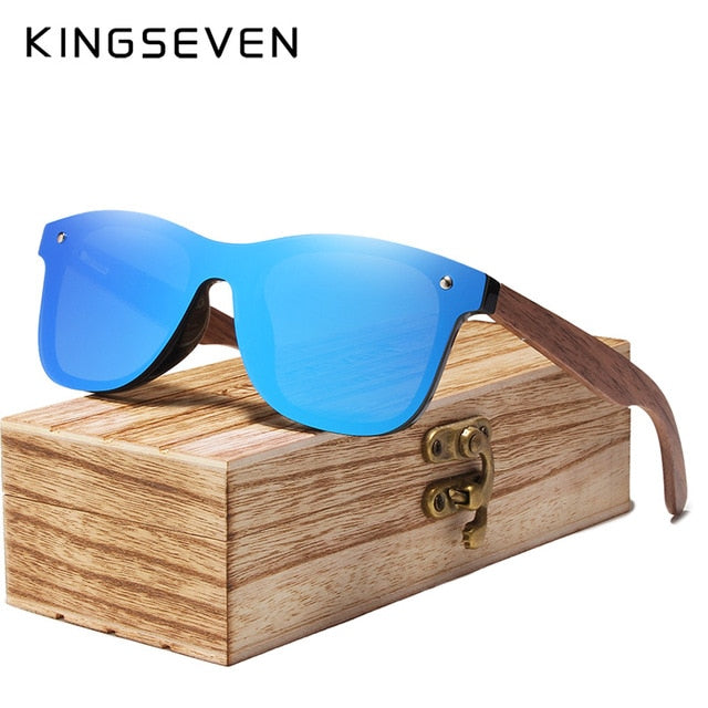 KINGSEVEN Polarized Walnut Wood Mirror Lens Sun Glasses