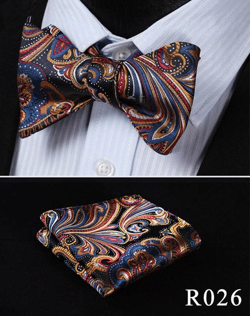 Floral Paisley 100%Silk Self Bow Tie
