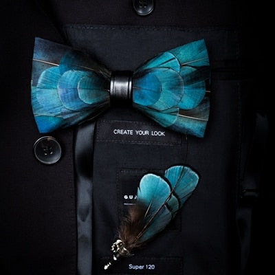 Natural Bird Feather Exquisite Hand Made Bow Tie