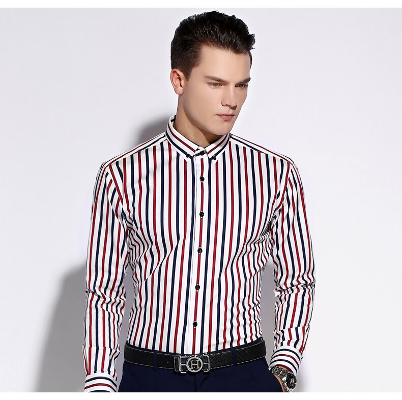 Contrast Vertical Striped Slim-fit Button-down Shirt