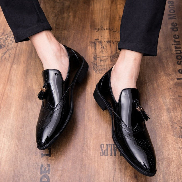 Patent Leather Italian Style Pointed Toe Slip-On Shoes