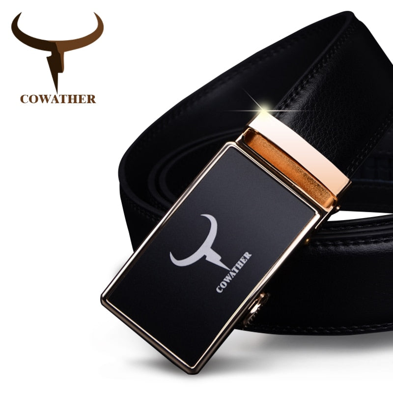 Genuine Leather **Fashion Automatic** Alloy Gold Silver Buckle  (New Arrival)