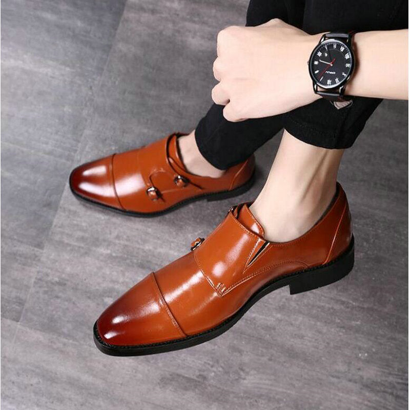 Monk Leather Double Buckle Oxford Shoes