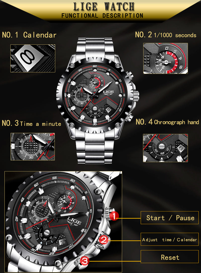 LIGE Full Steel Business Quartz Watch