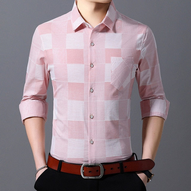 Men's Plaid Button Up Slim Fit Shirt