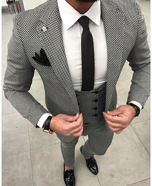 Tailored Black White Pattern Slim Fit Suit - 3 Pc