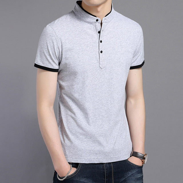 Summer Polo Slim Fit Stand Collar