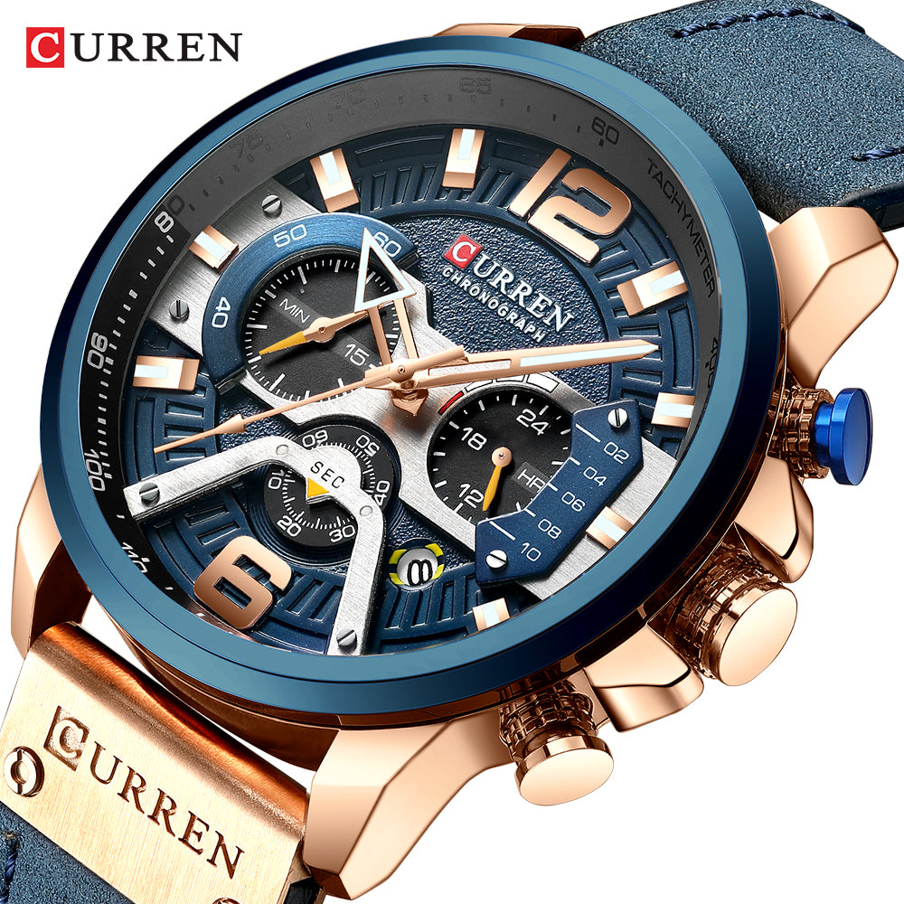 Men's Casual Leather Waterproof Chronograph