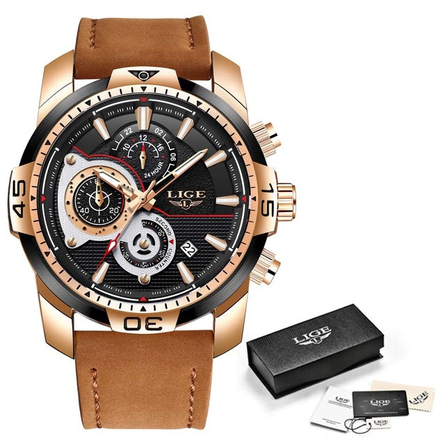 Casual Leather Sport Waterproof Watch