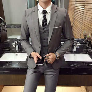 Daschop Online 3 Piece Slim Fit Business Siut   S-6XL (Ensemble Series)