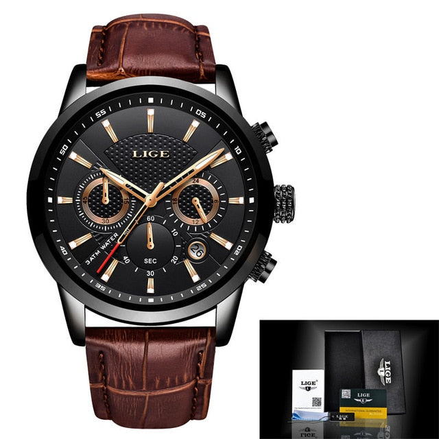 LIGE Luxury Quartz Clock Leather Band