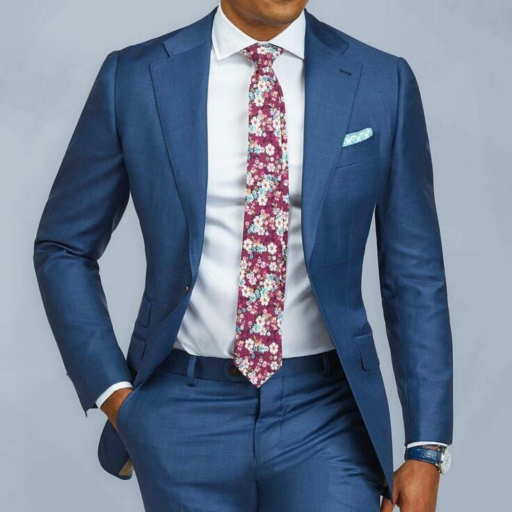 Blue Single Breasted Slim Fit Suit