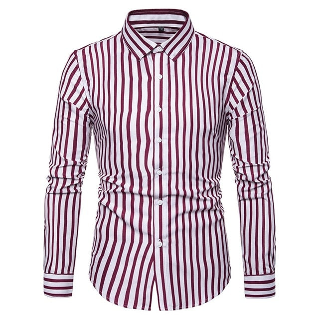 Summer Fashion Striped Slim Fit Buttons Shirt