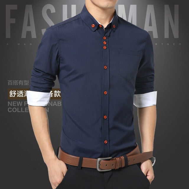 Casual Slim Fit Turn-Down Cotton Male