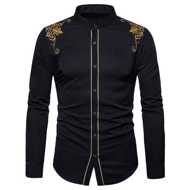 Slim Fit Long Sleeve Button Embroidery Down