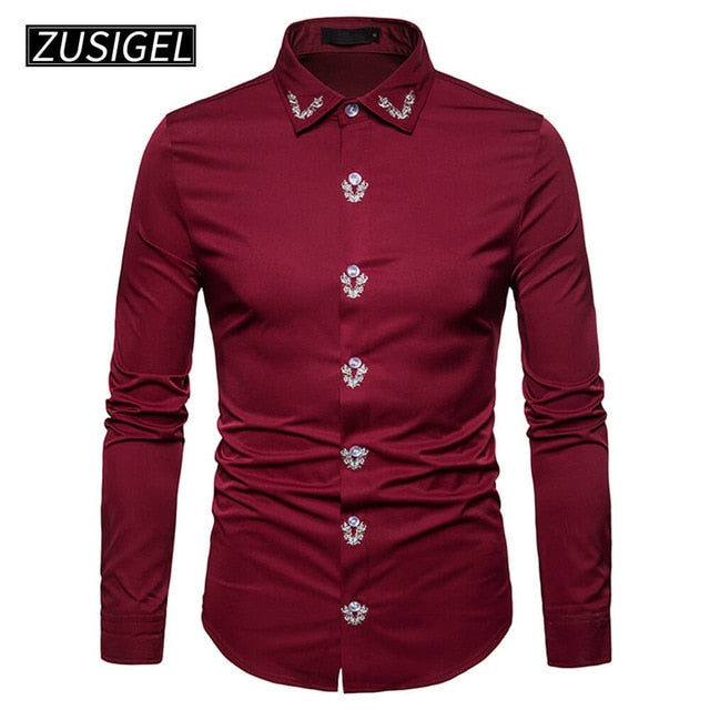 Slim Fit Court Style Embroidery Printed Long Sleeve Shirt